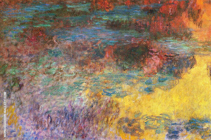 Water Lily Pond Evening 1920 - detail 2 By Claude Monet