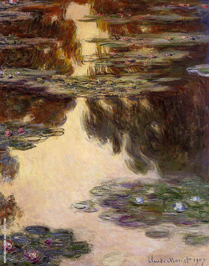 Water Lilies c1907-3 By Claude Monet