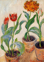 Three Pots of Tulips 1883 By Claude Monet