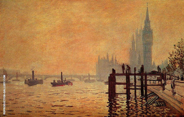 The Thames Below Westminster Sunset 1871 By Claude Monet