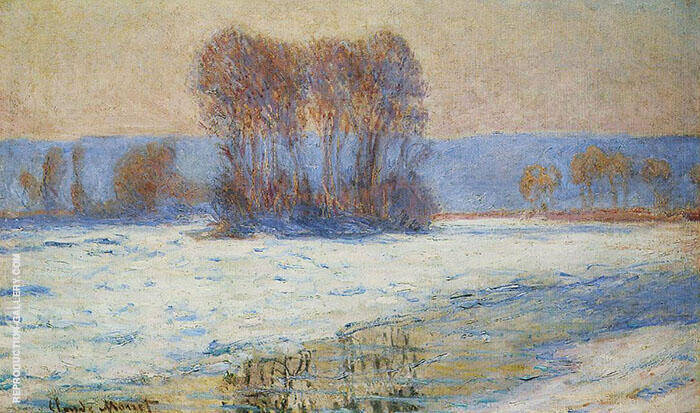 The Seine at Bennecourt in Winter 1893 By Claude Monet