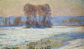 The Seine at Bennecourt in Winter 1893 By Claude Monet
