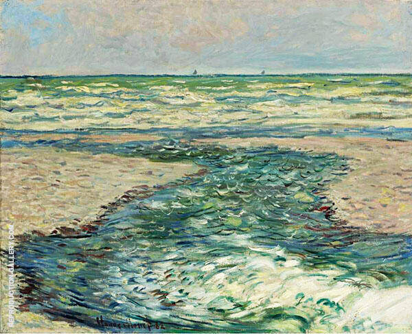 The Seacoast at Pourville Low Tide 1882 By Claude Monet