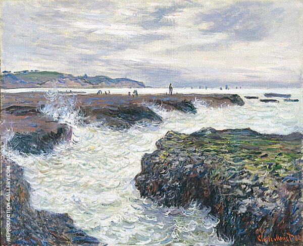 The Rock at Pourville Low Tide 1882 By Claude Monet