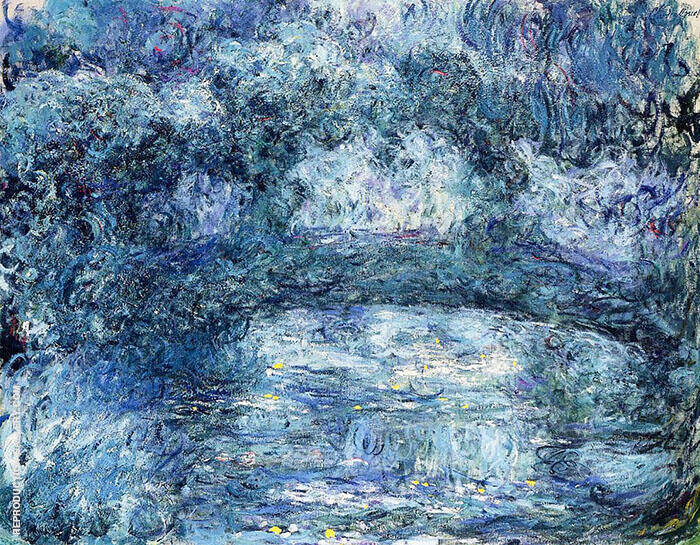 The Japanese Bridge 1918 Blue Painting By Claude Monet