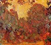 The House Seen Through the Roses Sunset c1922 By Claude Monet