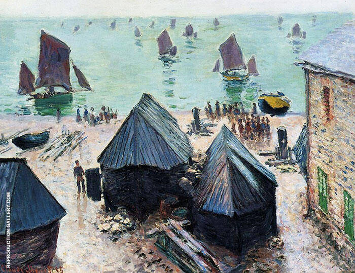 The Departure of the Boats Etretat 1885 By Claude Monet
