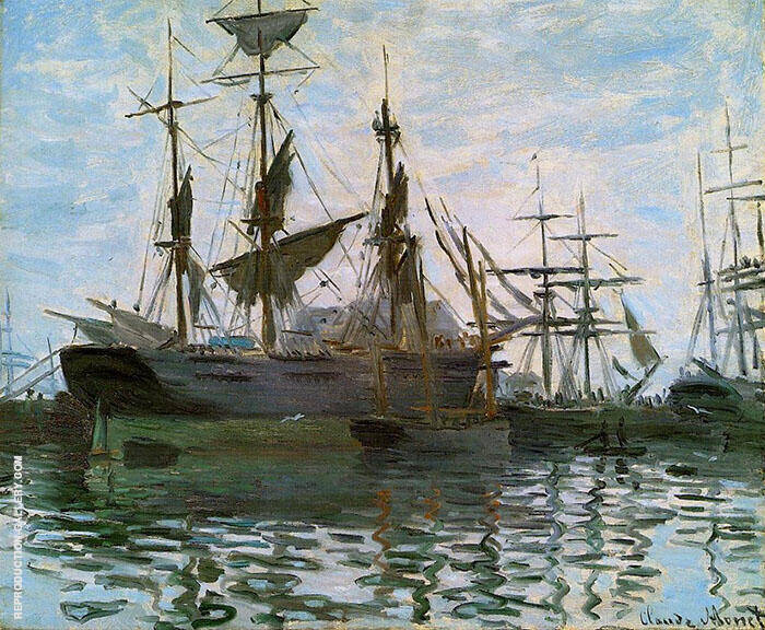 Study of Boats, Ships in the Harbour 1873 By Claude Monet