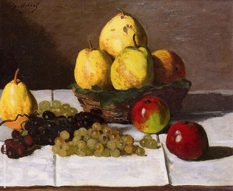 Still Life with Pears and Grapes 1867 By Claude Monet