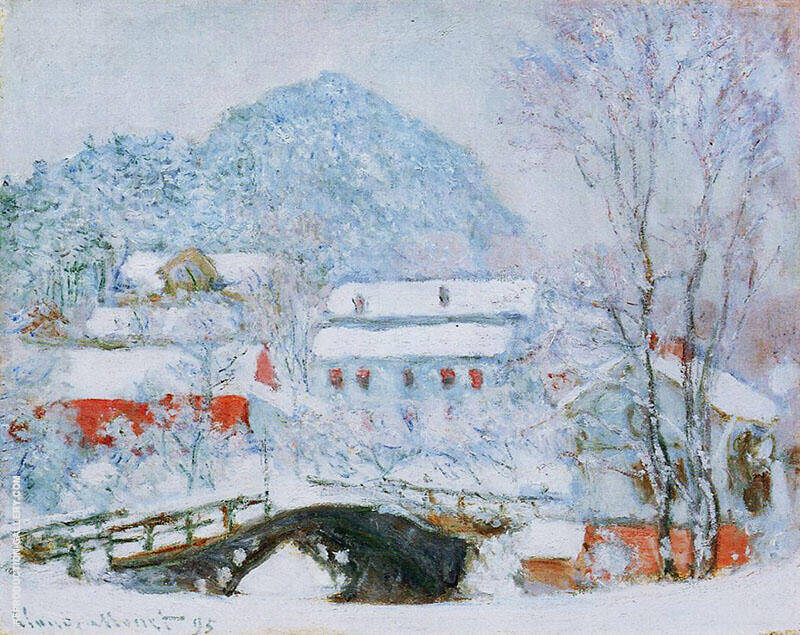 Sandviken Village in the Snow 1895 By Claude Monet
