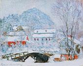 Sandviken Village in the Snow 1895 By Claude Monet
