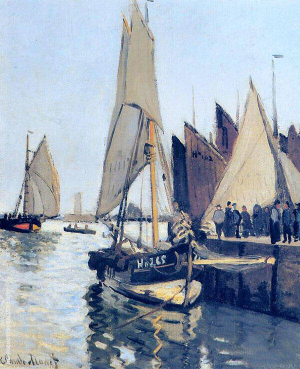 Sailing Boats at Honfleur 1866 By Claude Monet