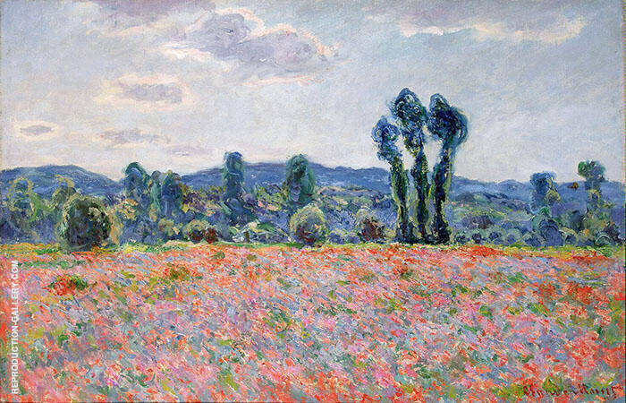 Poppy Field c1890 By Claude Monet