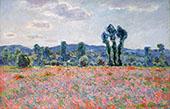 Poppy Field c1890 By Claude Monet