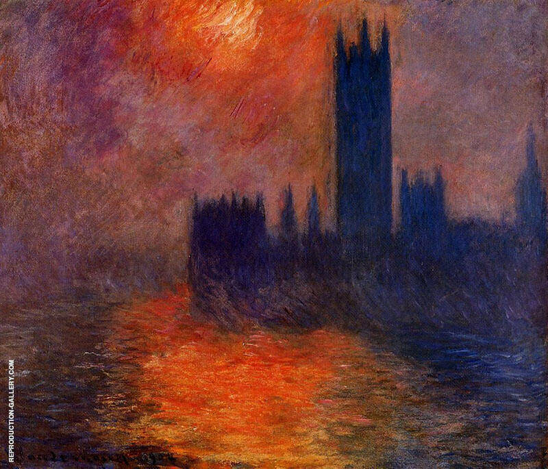 Houses of Parliament Sunset c1900 By Claude Monet