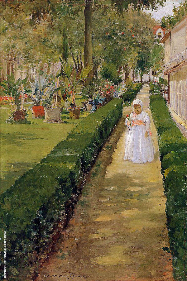 Child on a Garden Walk By William Merritt Chase