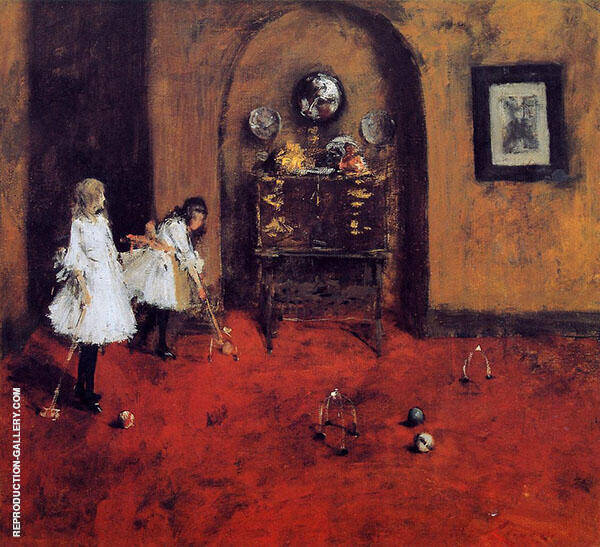 Children Playing Parlor Croquet By William Merritt Chase