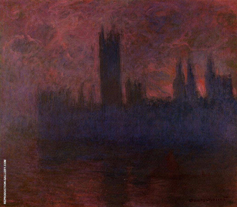 Houses of Parliament Symphony in Rose c1900 By Claude Monet