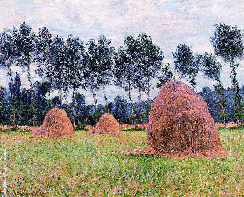 Haystacks Overcast Day 1884 by Claude Monet | Oil Painting Reproduction Replica On Canvas - Reproduction Gallery