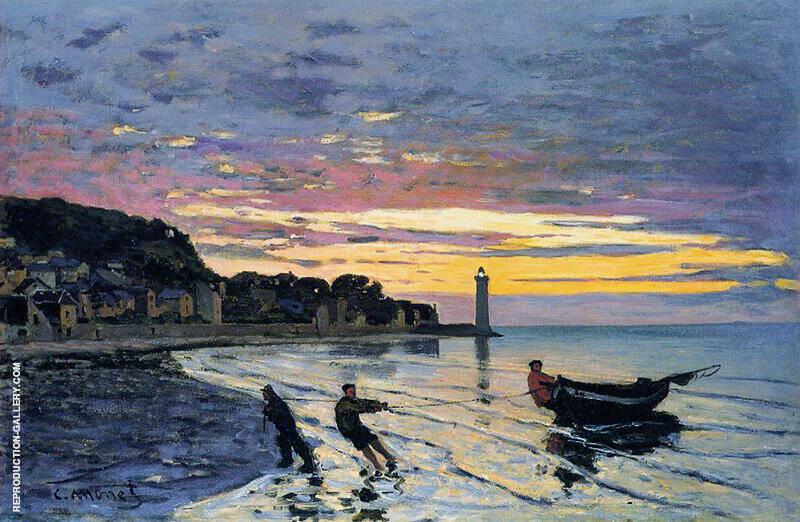 Hauling a Boat Ashore Honfleur 1864 By Claude Monet