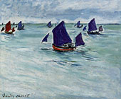 Fishing Boats off Pourville 1882 By Claude Monet