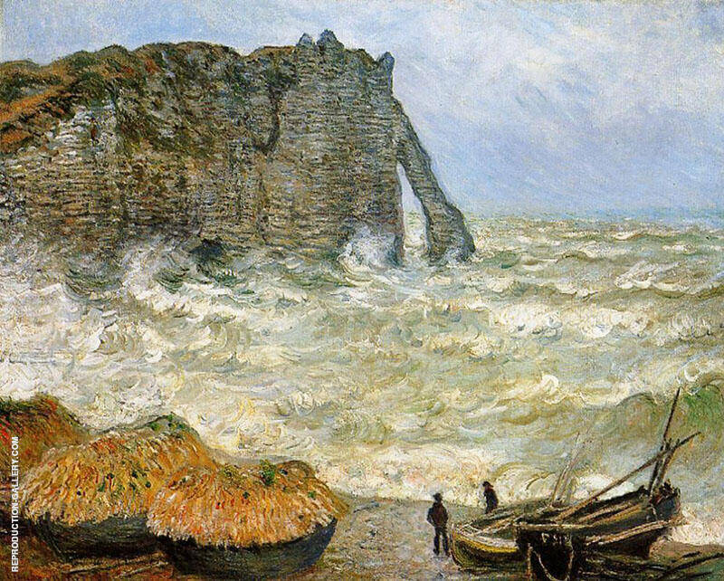 Etretat Rough Seas 1883 By Claude Monet