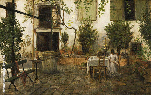 Courtyard in Venice By William Merritt Chase