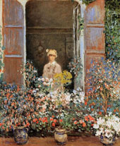 Camille Monet at the Window Argenteuil 1873 By Claude Monet