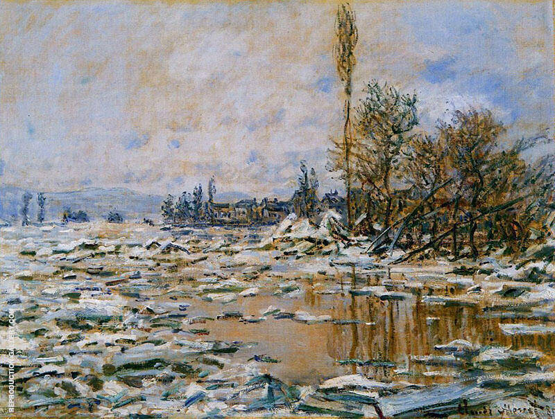 Break-up of the Ice Grey Weather 1880 By Claude Monet