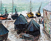 Boats on the Beach Etretat 1885 By Claude Monet