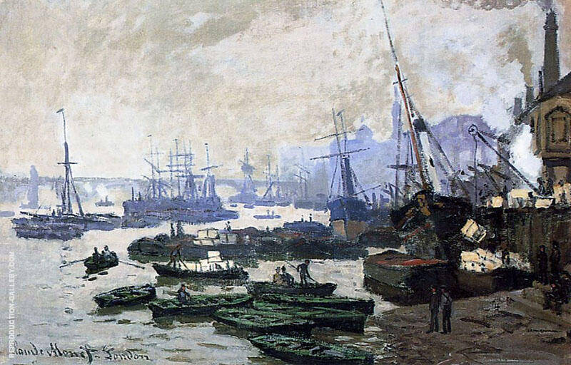 Boats in the Port of London 1871 By Claude Monet