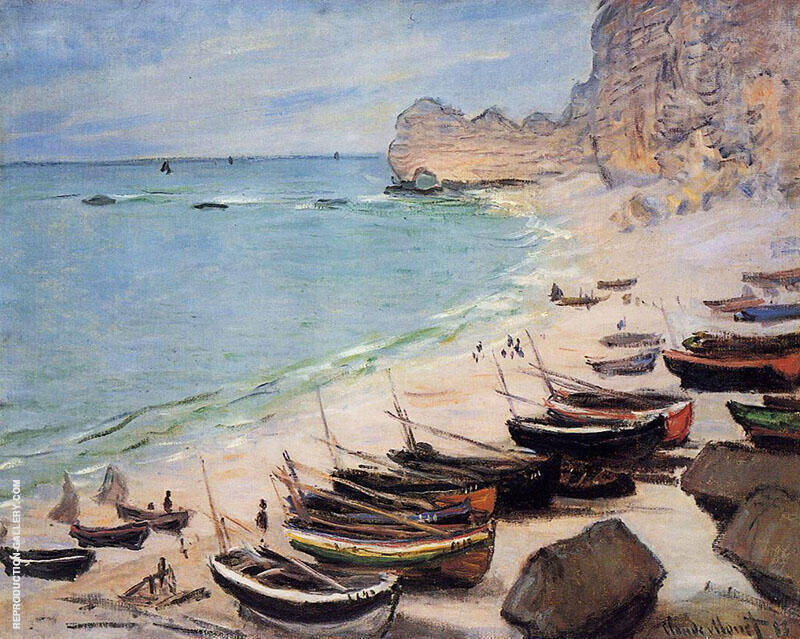 Boats on the Beach at Etretat 1883 By Claude Monet