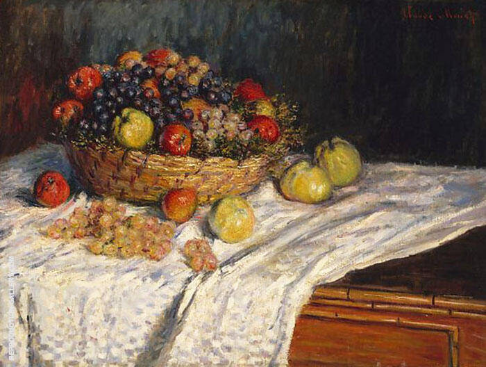 Basket with Apples and Grapes 2879 Painting By Claude Monet