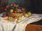 Basket with Apples and Grapes 2879 By Claude Monet