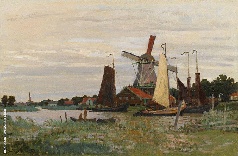 Windmill at Zaandam 1871 By Claude Monet