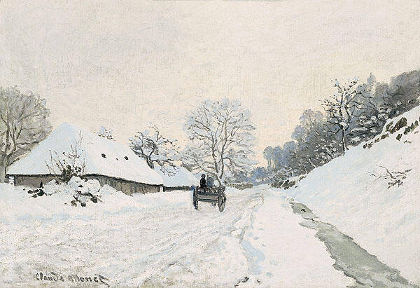 A Cart on the Snowy Road at Honfleur 1865 By Claude Monet