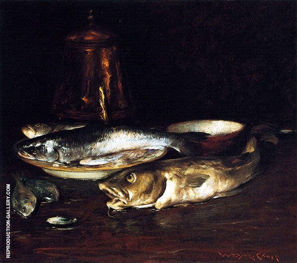 Fish Plate and Copper Pot By William Merritt Chase