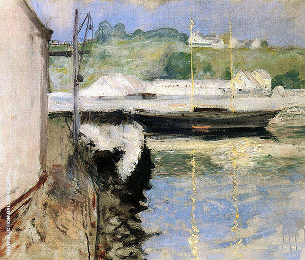 Fish Sheds and Schooner Gloucester 1898 Painting By William Merritt Chase