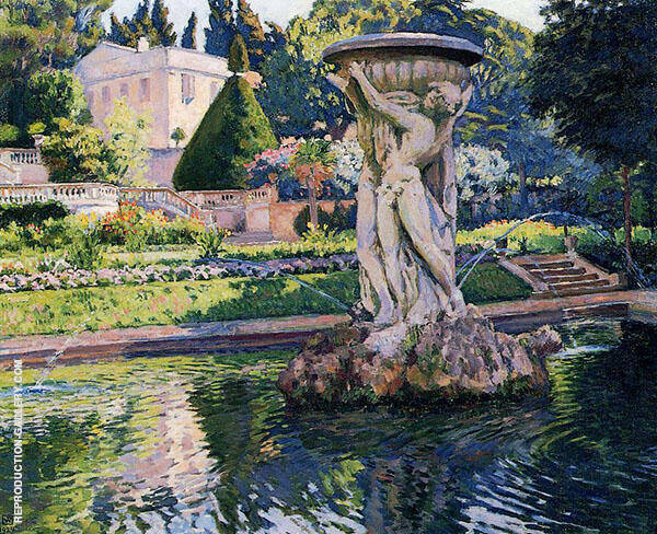 Garden with Villa and Fountain 1924 By William Merritt Chase