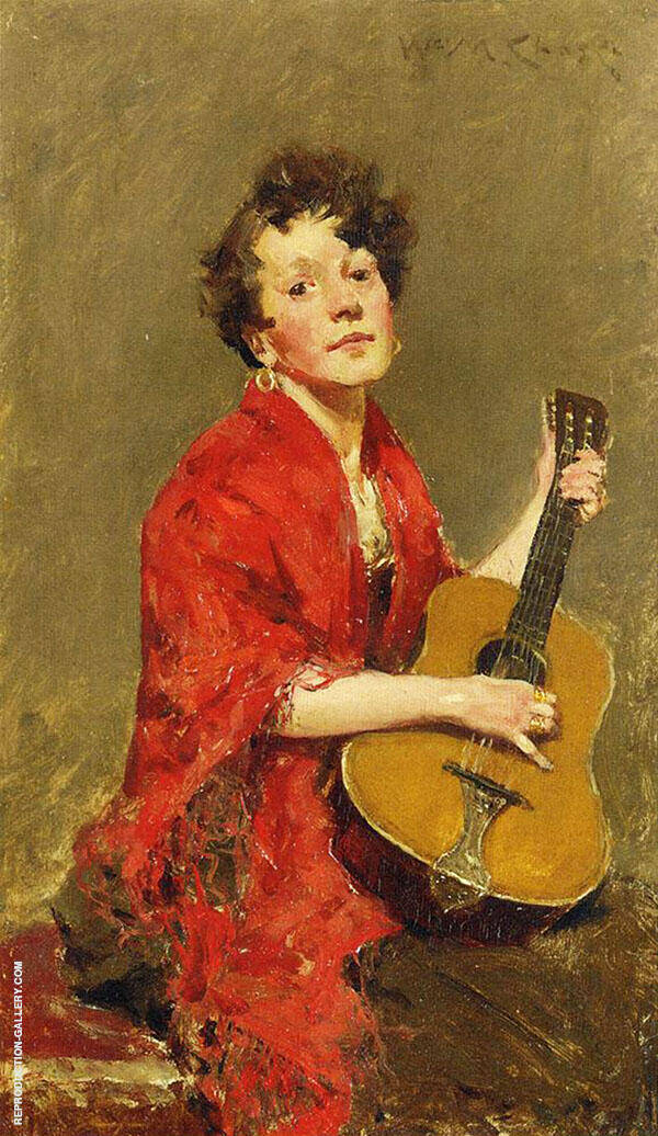 Girl with Guitar By William Merritt Chase