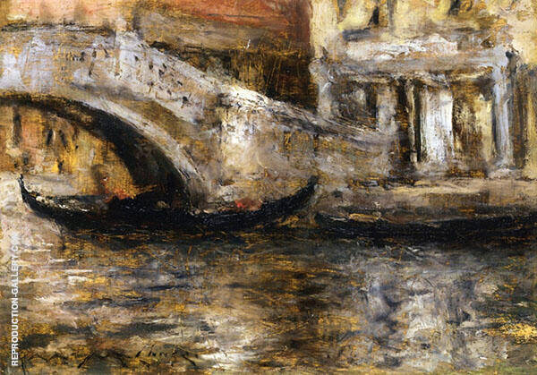 Gondolas along Venetian Canal By William Merritt Chase
