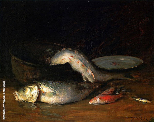 Big Copper Kettle and Fish By William Merritt Chase
