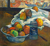 Bowl of Fruit and Tankard before a Window By Paul Gauguin