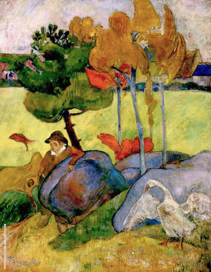 Breton Boy in a Landscape 1889 By Paul Gauguin