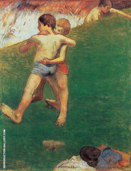 Breton Boys Wrestling 1888 By Paul Gauguin