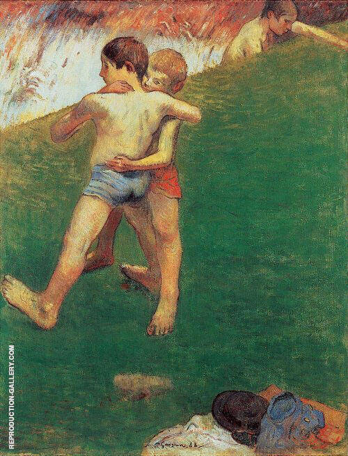 Breton Boys Wrestling 1888 By Paul Gauguin