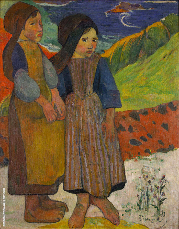 Breton Girls by the Sea 1889 Painting By Paul Gauguin
