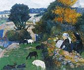 Breton Shepherdess 1886 By Paul Gauguin