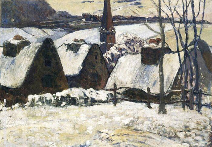 Breton Village in the Snow 1894 By Paul Gauguin