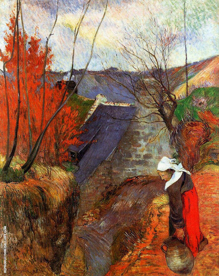 Breton Woman with Pitcher 1888 By Paul Gauguin